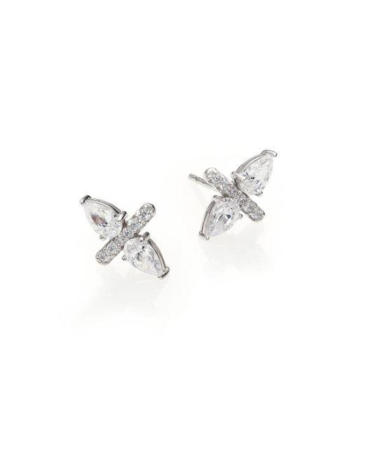 Adriana Orsini | Metallic Bijoux Sterling Silver Two-pear Bar Stud Earring | Lyst