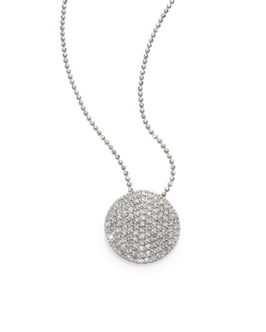 Phillips House - Pave Diamond & 14k White Gold Infinity Disc Pendant Necklace - Lyst