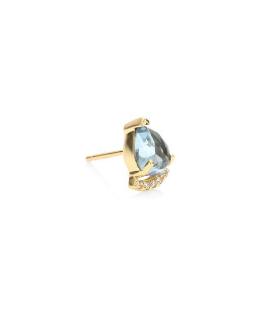 Paige Novick - Metallic Powerful Pretty Things Aquamarine & Diamond Single Stud Earring - Lyst