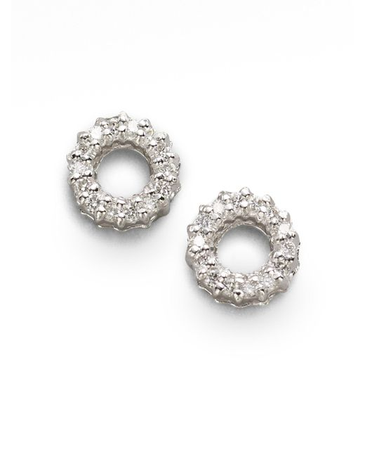 Roberto Coin - Diamond & 18k White Gold Circle Earrings - Lyst