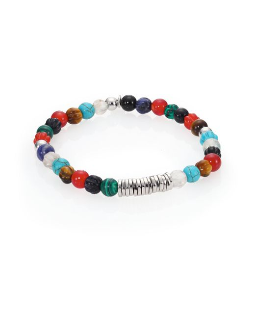 Tateossian | Multicolor Carnelian & Silver Discs Round Beads Bracelet | Lyst