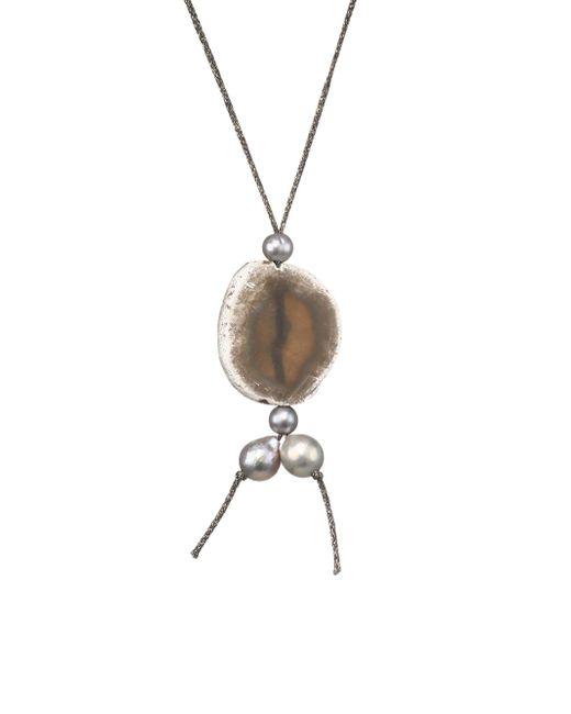 Chan Luu - Metallic 12-14mm Grey Pearl, Matte Coated Grey Druzy Agate & Sterling Silver Necklace - Lyst