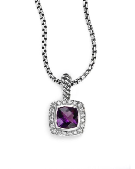 David Yurman - Metallic Amethyst Diamond Sterling Silver Pendant Necklace - Lyst