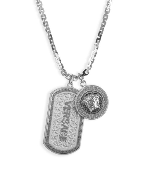 Versace - Metallic Medusa Dog Tag Necklace - Lyst