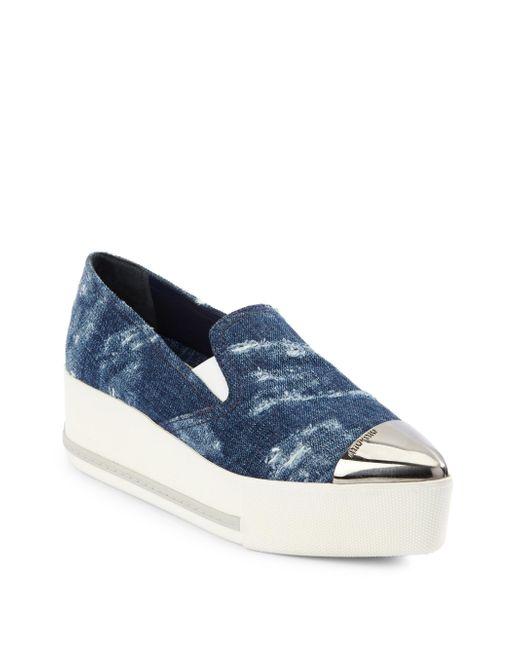 Miu Miu - Blue Cap Toe Denim Platform Sneakers - Lyst