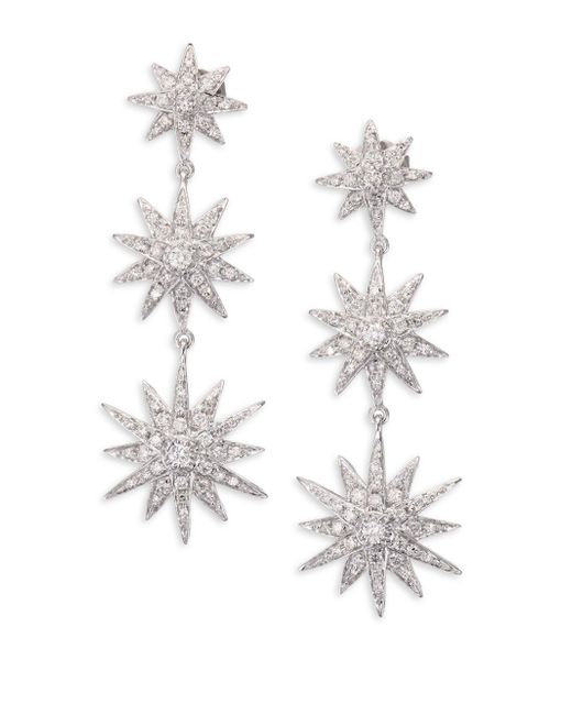 SHAY | Metallic Diamond & 18k White Gold Starburst Drop Earrings | Lyst