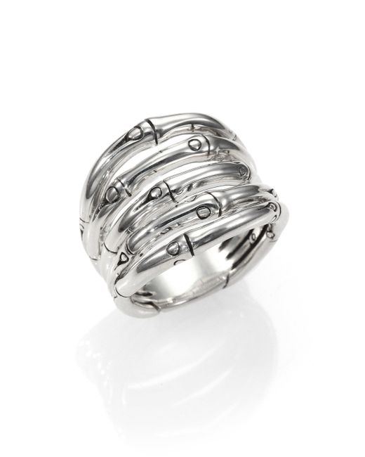 John Hardy | Metallic Bamboo Sterling Silver Wide Ring | Lyst