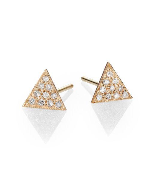 Zoe Chicco | Metallic Diamond & 14k Yellow Gold Triangle Stud Earrings | Lyst