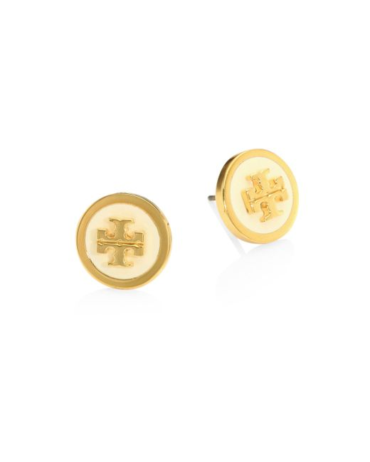 Tory Burch - Metallic Lacquered Raised Logo Stud Earrings - Lyst