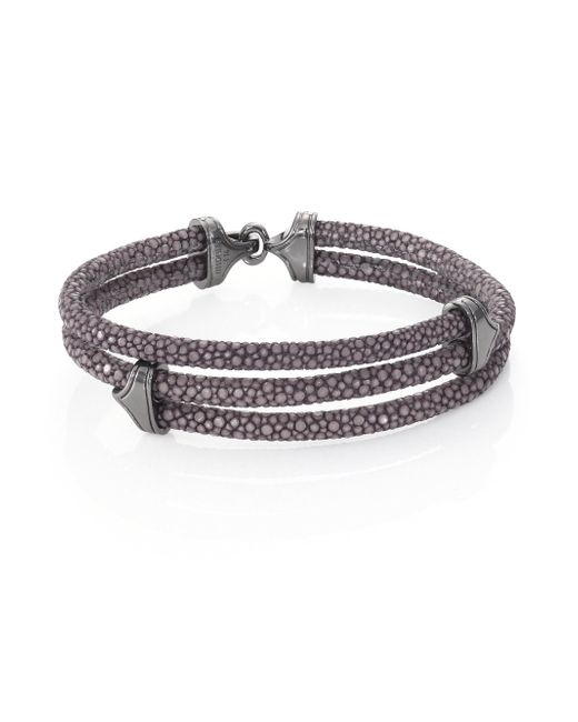 Stinghd Blackened Silver & Stingray Triangle Wrap Bracelet for men