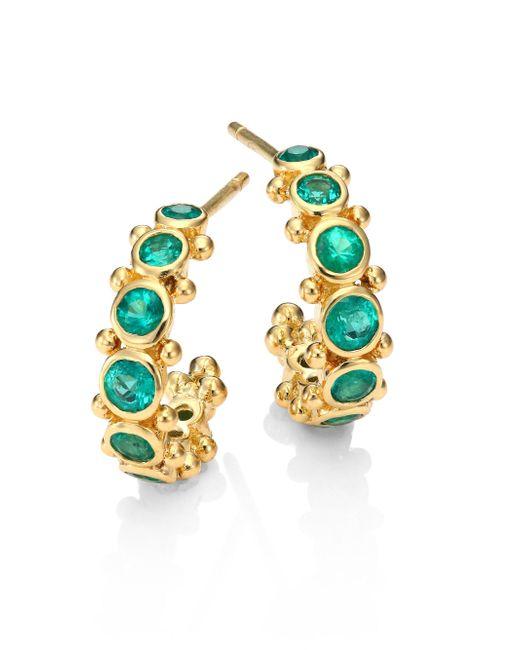 Temple St. Clair - Blue Eternity Emerald & 18k Yellow Gold Hoop Earrings/0.4 - Lyst