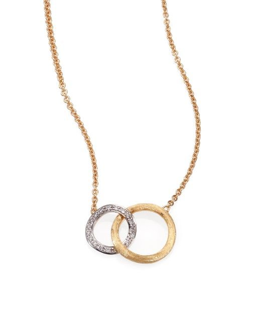 Marco Bicego - Metallic Jaipur Link Diamond, 18k White & Yellow Gold Pendant Necklace - Lyst