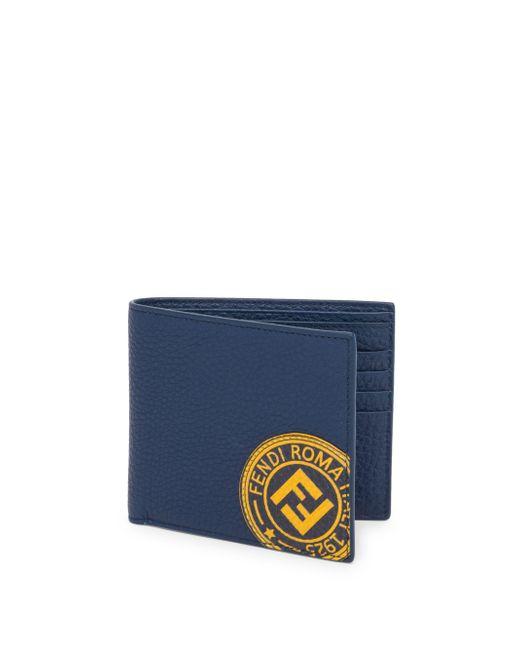 Fendi - Blue Leather Logo Stamp Wallet for Men - Lyst