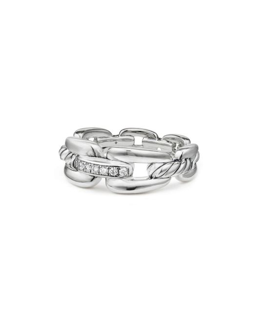 David Yurman - Metallic Wellesley Link Pavé Diamonds & Sterling Silver Stax Chain Link Ring - Lyst
