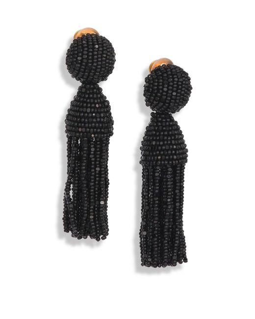 Oscar de la Renta - Black Short Beaded Tassel Clip-on Earrings - Lyst