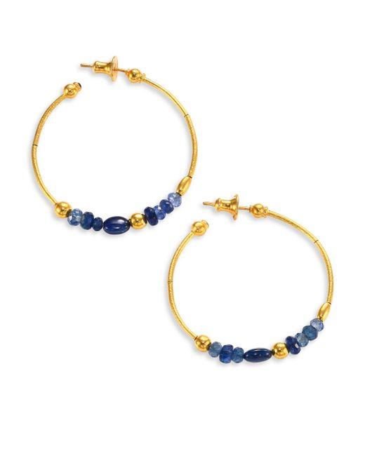 Gurhan   Delicate Rain Blue Sapphire & 24k Yellow Gold Hoop Earrings/1.5   Lyst