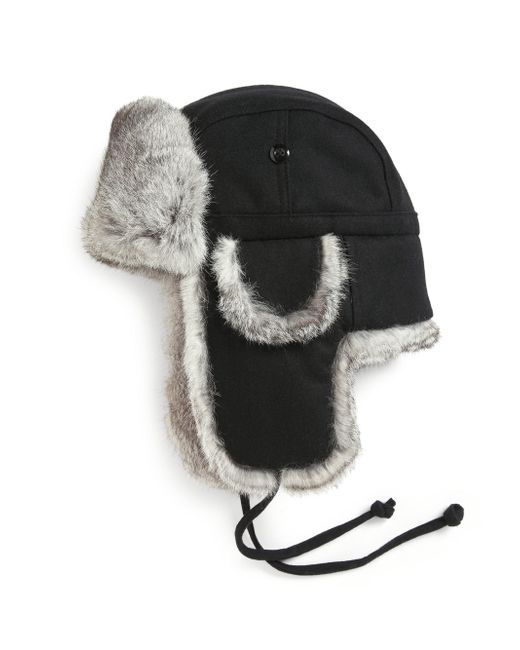 Crown Cap - Gray Real Rabbit Fur Lined Bomber Hat - Lyst
