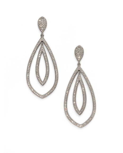 Adriana Orsini | Metallic Double Teardrop Sparkle Earrings/silver | Lyst