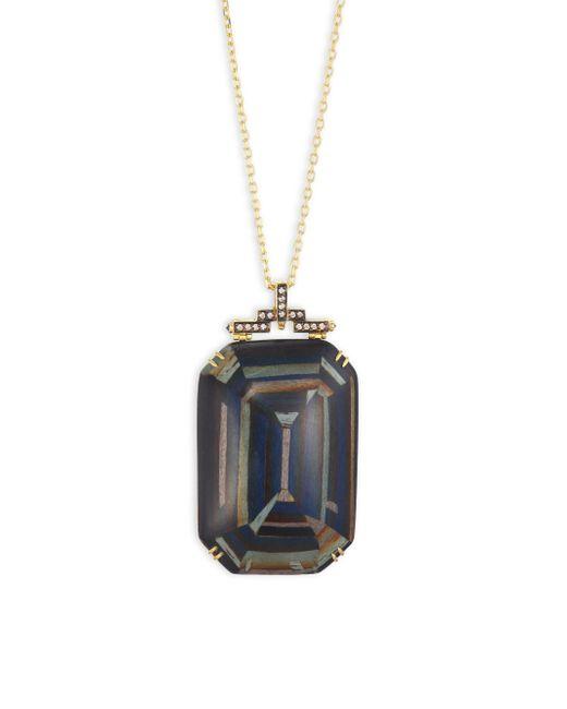 Silvia Furmanovich - Marquetry Light Brown Diamonds, Blue Sapphire & 18k Yellow Gold Pendant Necklace - Lyst