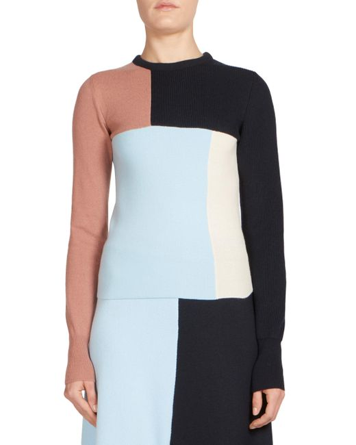Cedric Charlier | Blue Wool & Cashmere Colorblock Sweater | Lyst