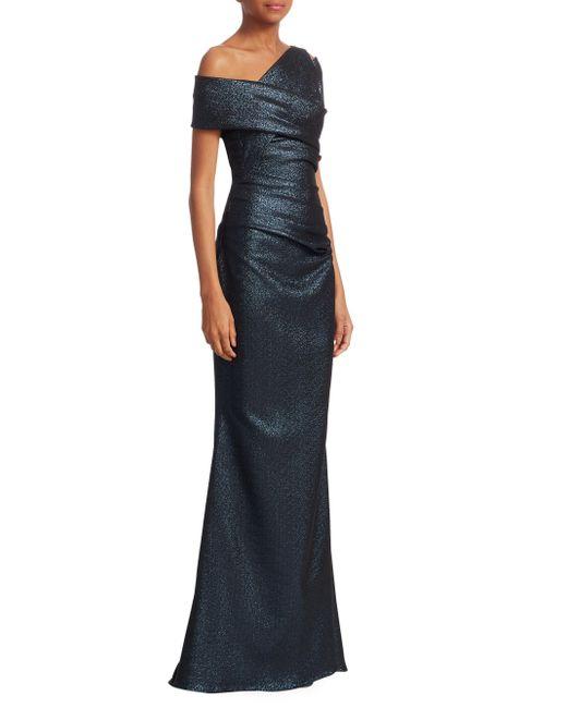 Talbot Runhof - Blue Metallic Scuba Gown - Lyst