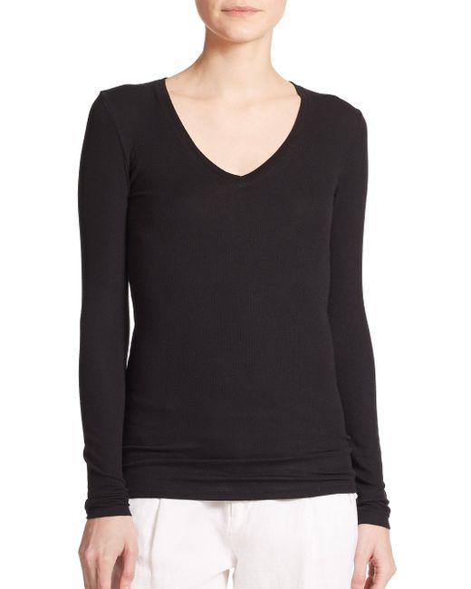 ATM - Black Long-sleeve V-neck Tee - Lyst