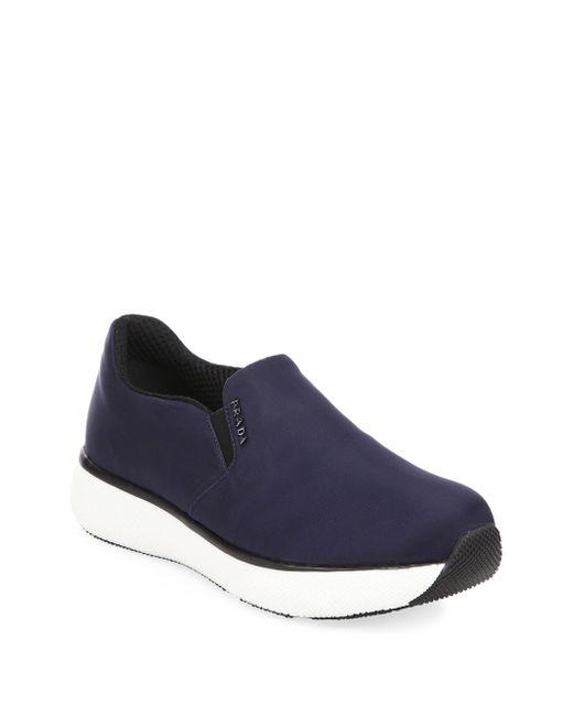 Prada - Blue Slip-on Sneakers - Lyst