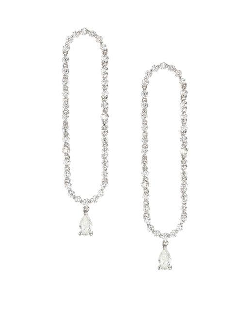 Anita Ko - Metallic Pave Diamond & 18k White Gold Oval Drop Earrings - Lyst