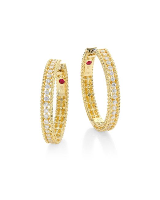 Roberto Coin | Metallic Symphony Diamond & 18k Yellow Gold Hoop Earrings/0.75 | Lyst