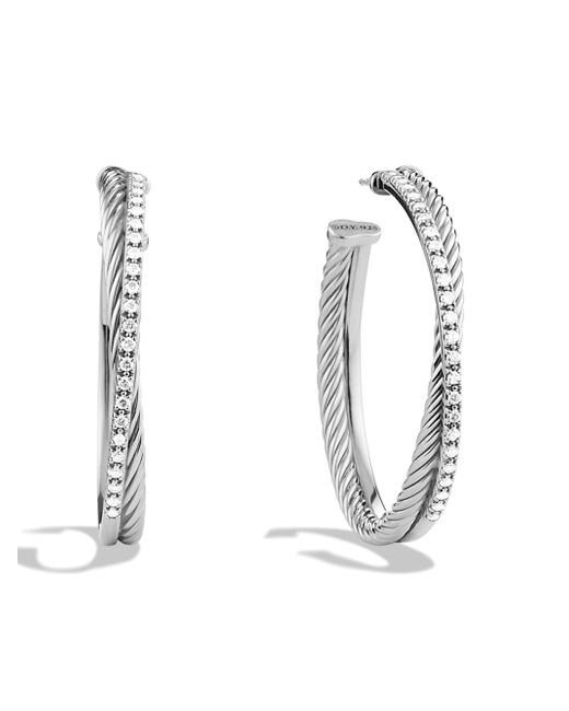 David Yurman - Metallic Crossover Extralarge Hoop Earrings with Diamonds - Lyst
