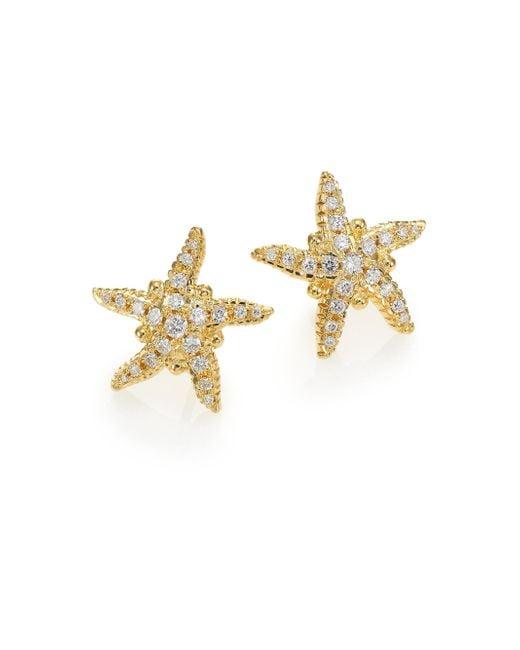 Temple St. Clair   Metallic Diamond & 18k Yellow Gold Sea Star Stud Earrings   Lyst
