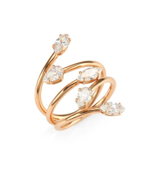 Anita Ko - Metallic 18k Rose Gold & Diamond Vine Ring - Lyst