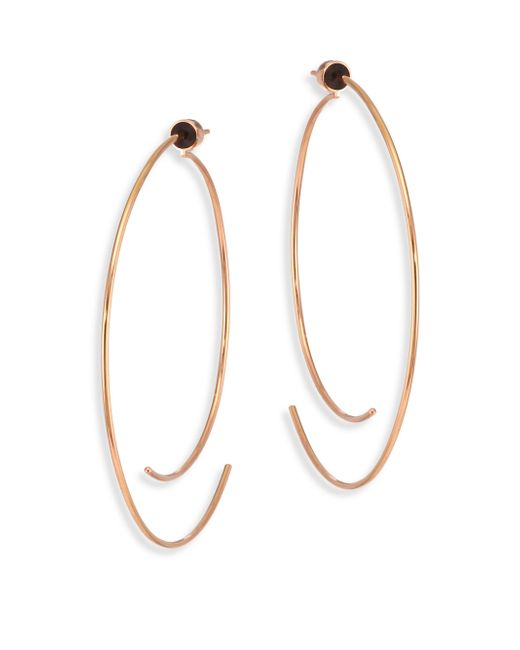 Diane Kordas | Metallic Armour 18k Rose Gold Curved Open Hoop Earrings/2.5 | Lyst