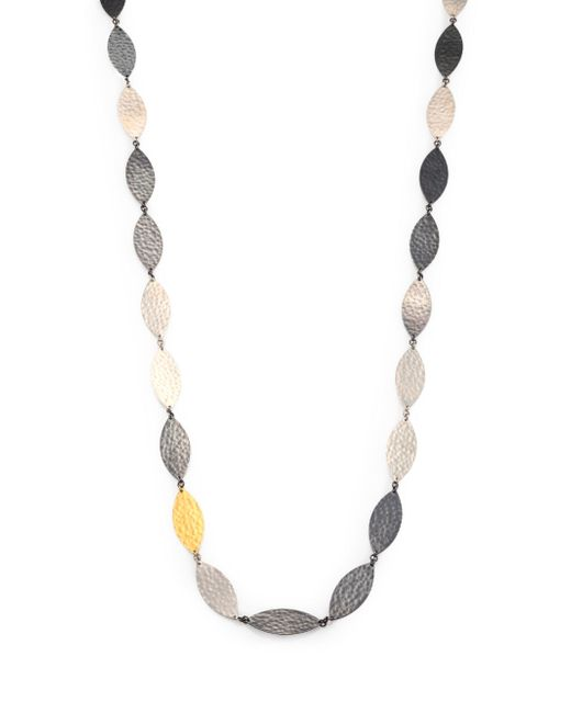 Gurhan | Metallic Willow 24k Yellow Gold & Sterling Silver Leaf Flake Necklace | Lyst