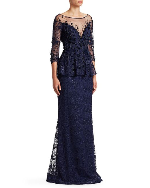 Teri Jon - Blue Embellished Lace Gown - Lyst
