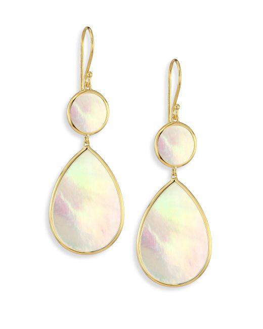 Ippolita - Metallic Polished Rock Candy Mother-of-pearl & 18k Yellow Gold Snowman Drop Earrings - Lyst