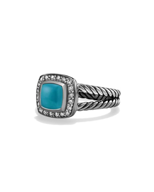 David Yurman - Blue Petite Albion Ring With Turquoise And Diamonds - Lyst