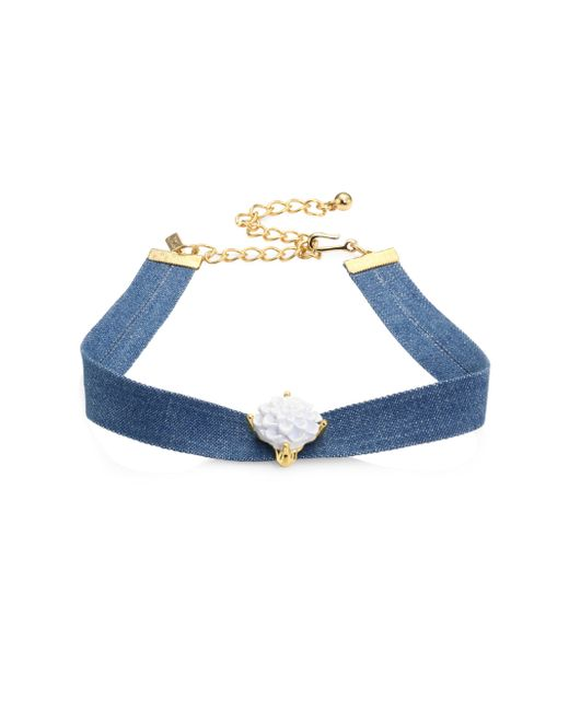 Kenneth Jay Lane - Blue Flower Denim Choker - Lyst