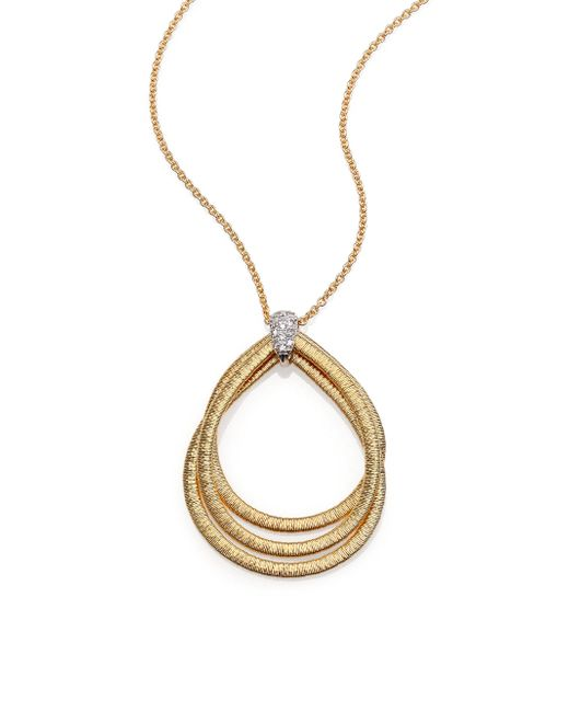 Marco Bicego | Metallic Cairo Diamond & 18k Yellow Gold Triple Teardrop Necklace | Lyst