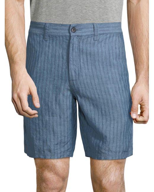 John Varvatos | Blue Triple Needle Linen Shorts for Men | Lyst