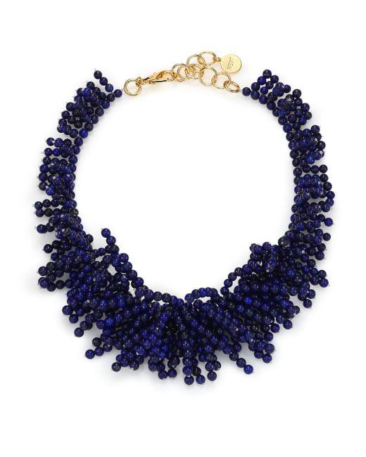Nest - Blue Lapis Beaded Fringe Bib Necklace - Lyst
