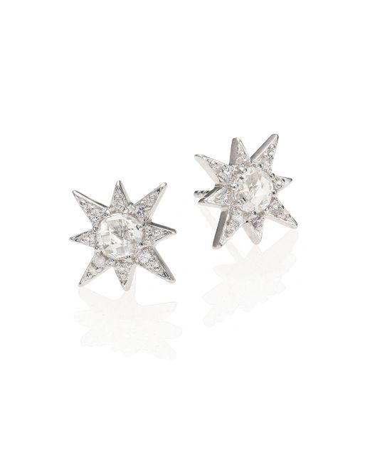 Anzie - Aztec Star White Topaz & White Sapphire Stud Earrings - Lyst