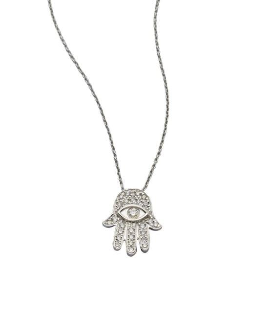 Roberto Coin - Tiny Treasures Diamond & 18k White Gold Hamsa Pendant Necklace - Lyst