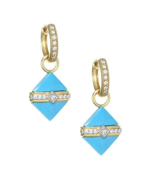 Jude Frances - Blue 18k Yellow Gold & Diamond Wrap Square Turquoise Stone Earring Charms - Lyst