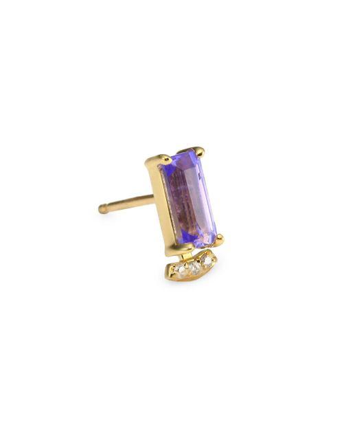 Paige Novick - Multicolor Powerful Pretty Things Diamond & Pink Tourmaline Single Stud Earring - Lyst