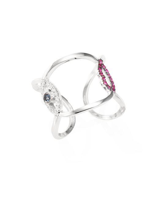 Delfina Delettrez - Metallic Earclipse Eye Lips Diamond, Ruby & Blue Sapphire Ring - Lyst