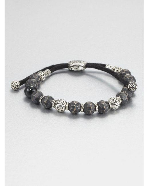 John Hardy | Metallic Black Tourmaline, Sterling Silver And Black Bronze Bead Bracelet for Men | Lyst