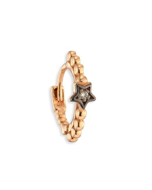 Kismet by Milka - Metallic Diamond & 14k Rose Gold Star Hoop Single Earring - Lyst