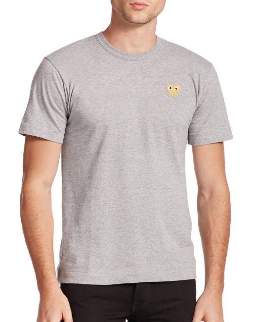 Play Comme des Garçons | Gray Small Emblem Tee for Men | Lyst