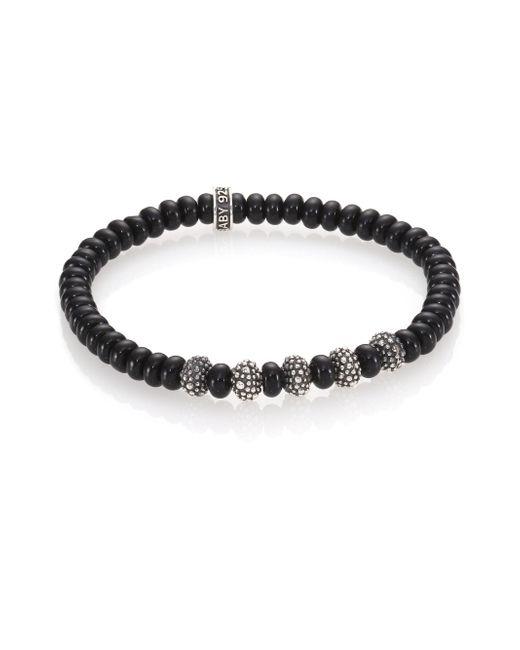 King Baby Studio - Metallic Black Onyx & Sterling Silver Bead Bracelet for Men - Lyst